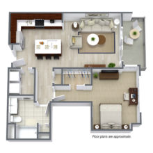Floor plan A3 is a modern 1 bedroom and 1 bath open floor plan at Spur16 townhomes in Mequon Wisconsin.