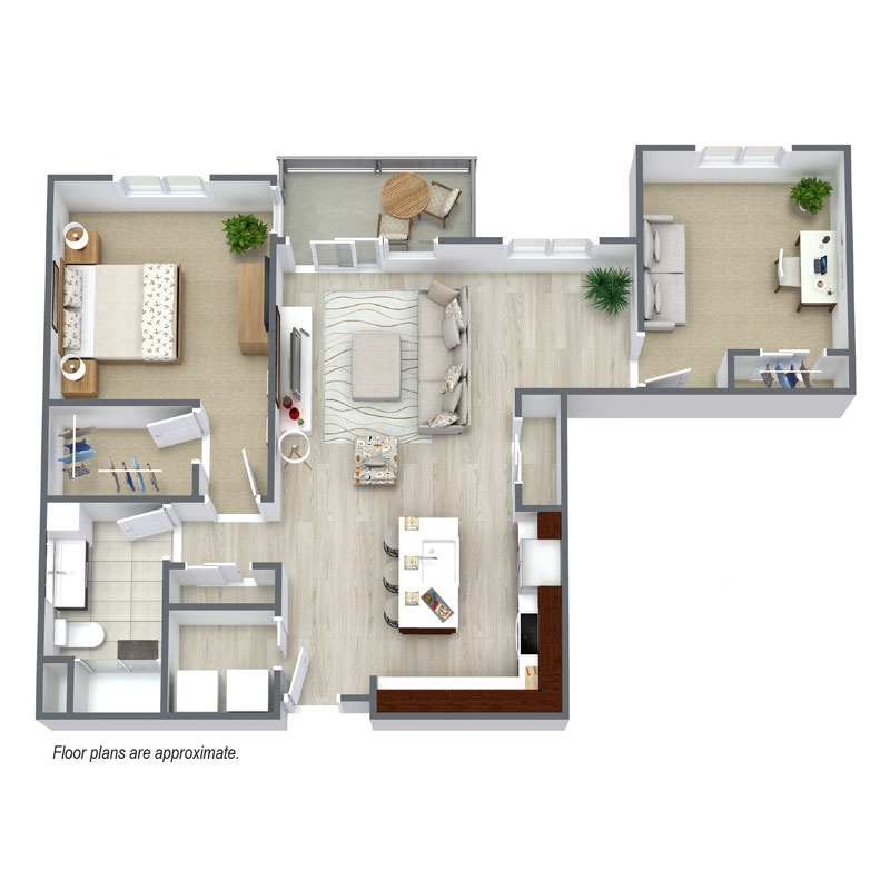 Spur 16 has floor plan B3 that includes 1 bed and 1 bath townhomes to lease.