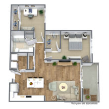 1 Bedroom and 1 bath B4 floor plan is ready to lease at the Spur 16 townhomes in Mequon Wisconsin