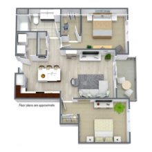 Spur 16 Apartment Floor Plan for 3 Bedrooms and 2.5 Baths