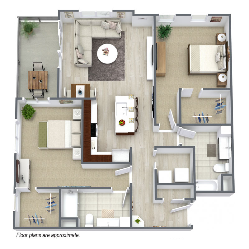 C11 floor plan for Wisconsin Spur 16 include 2 bedroom and 2 baths