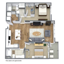Spur 16 townhome C3floor plan includes 2 bedrooms and 2 baths which are ready to lease.