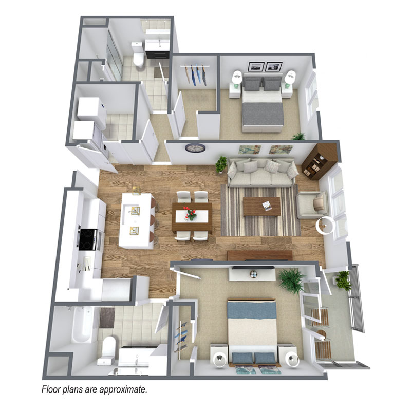Spur 16 C7 floor plan includes 2 bedroom and 2 bath townhomes for lease.