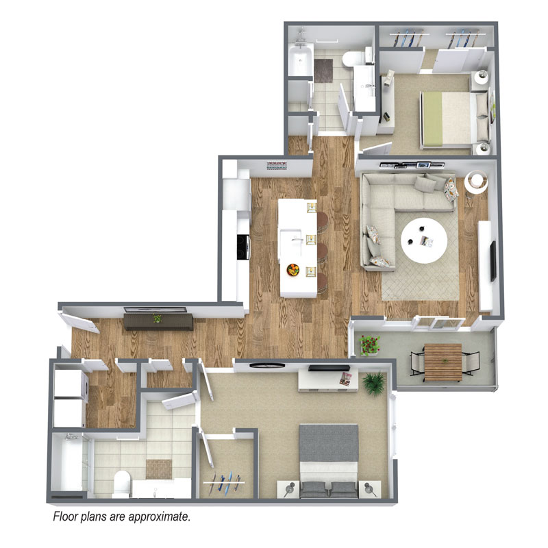 Spur 16 has 2 bedroom and 2 bath floor plans available for rent.