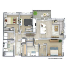 Spur 16 D1 floor plan includes 3 bedrooms and 2 baths for rent.