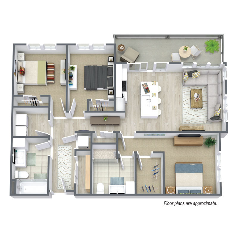 Spur 16 D1 Floor plan includes 3 bedrooms and 2 baths
